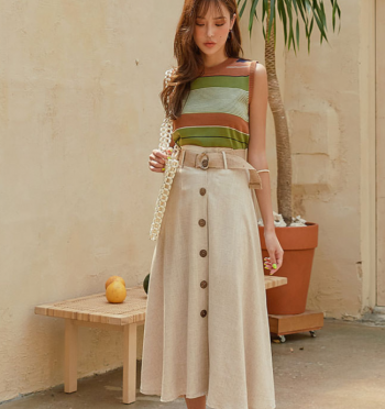 luzy linen button long skirt