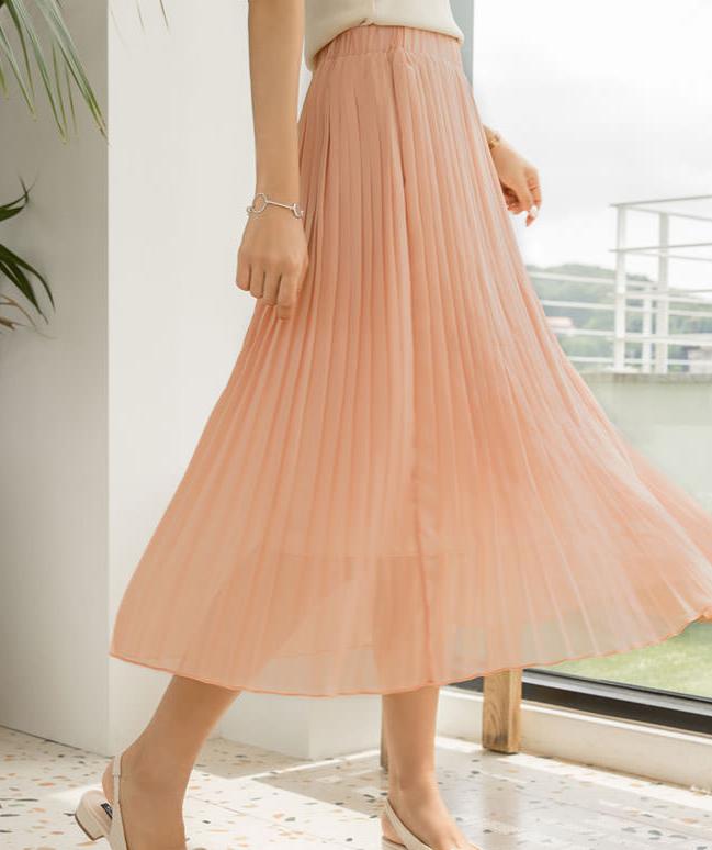Pleated Chiffon Pleated Bending Long Skirt