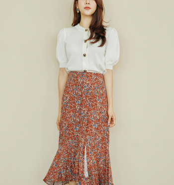 Unfooted Slit Flower Skirt