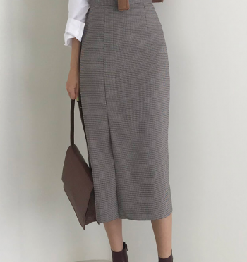 Slit Fall Check Long Skirt