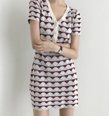 Look At Me Pattern Knit Mini Dress