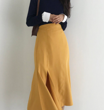 Romain Unbalance Deep Slit Long Skirt