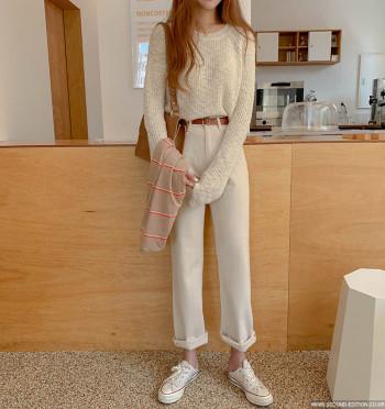 Heringbon Cotton Pants