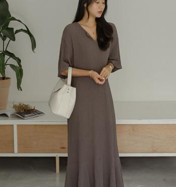 Simple V neck hem frill long dress
