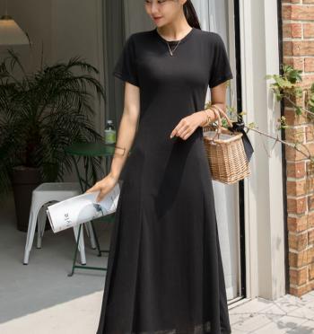 Basic Short Sleeve Flared Long Dress