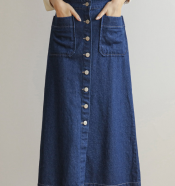 Popo button A-line denim skirt