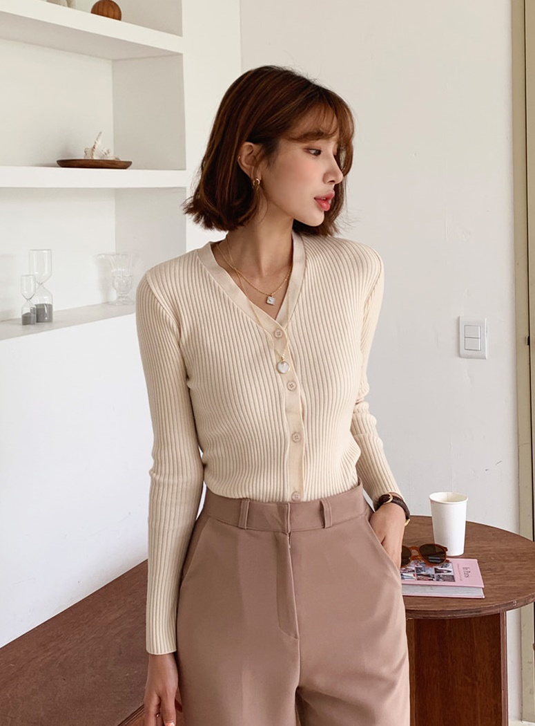 Core V-neck slim ribbed cardigan