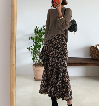 La Rove Flower Frill Long Skirt