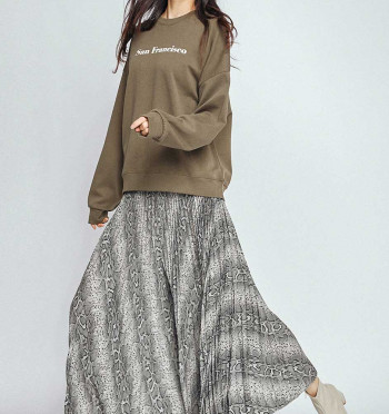 Pattern banded pleated pants