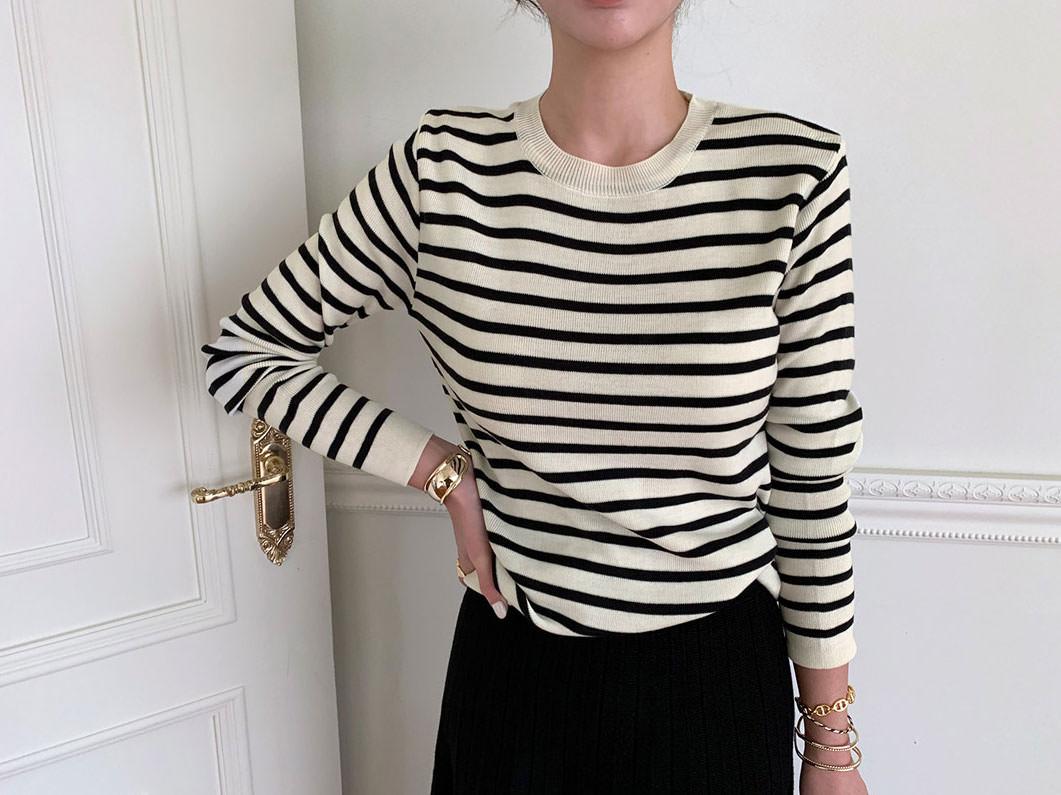 Melange striped knit