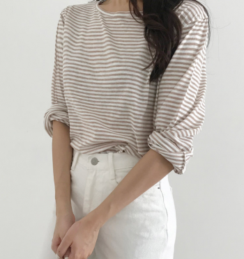 basic stripe Tee (Beige)
