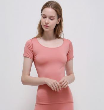 Neutral U-neck T-shirt - Lid Pink