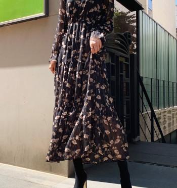 Ari Flower Frill Long Dress