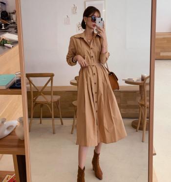 Kai belted shirt long dress