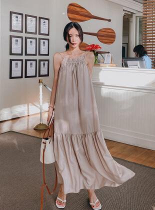Goldie Shirring Long Dress
