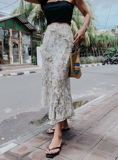 Breda floral ruffle trim long skirt