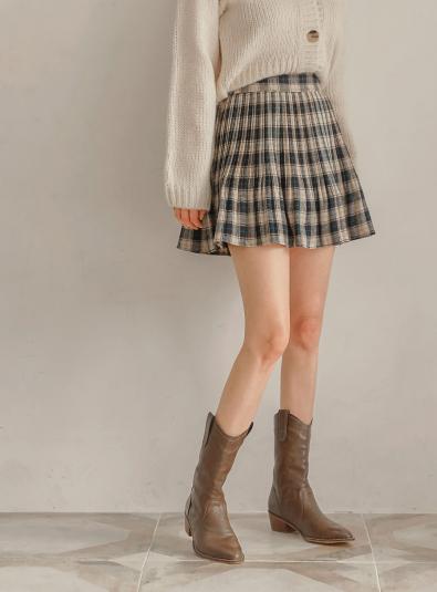 laos check pleats mini skirt