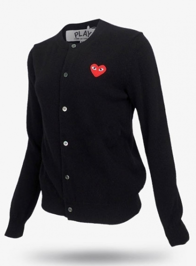 19New Red Heart Wappen Wool Cardigans Black (P1N007)