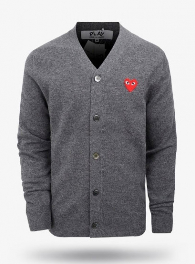 19New Red Heart Wappen Wool Cardigans Gray (P1N008)