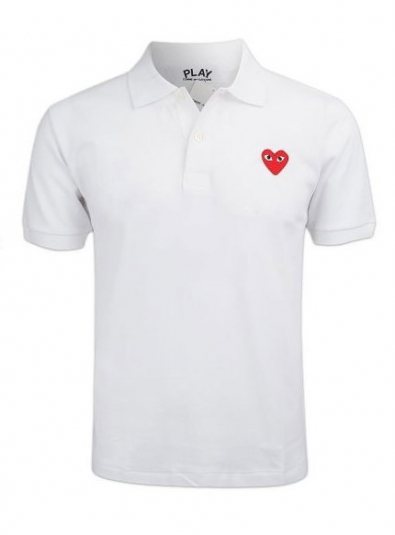 19New Red Heart Wappen Polo T-shirt White (P1T006)