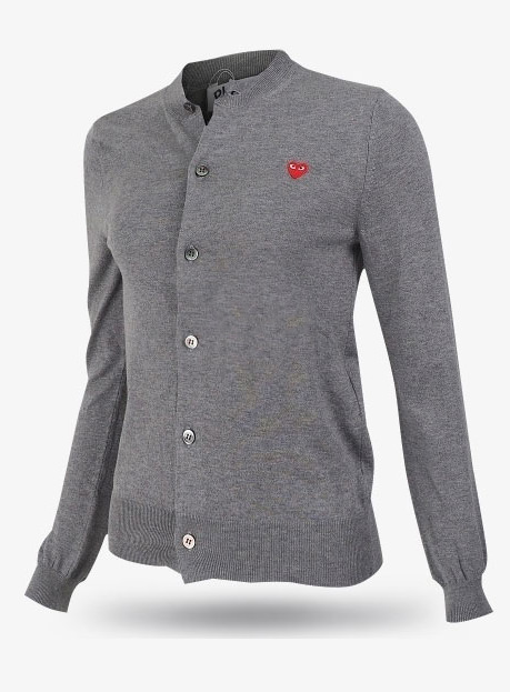 19New Red Heart Wappen Wool Cardigans Gray (P1N053)