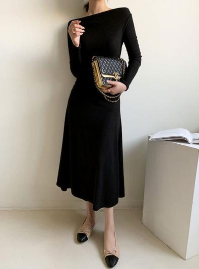 Rienny side shirring span dress