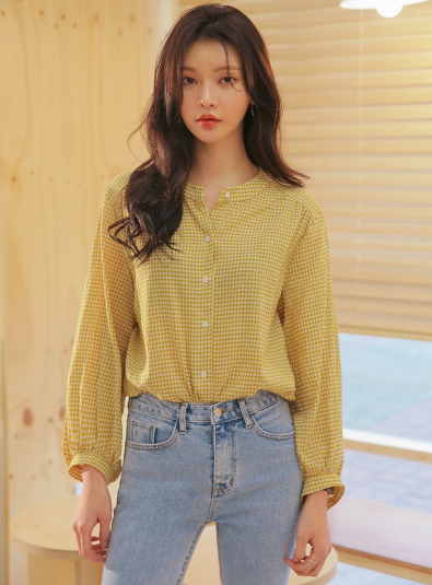 frame gingham check puff blouse