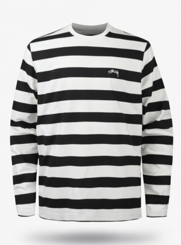 19FW Printed Striped LS Cres (1140161-BLACK)