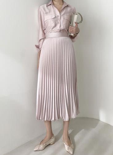 Pastel silky satin pleated long skirt