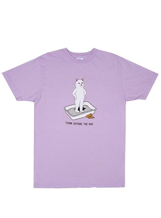 [RND3563] Print Short Sleeve T-Shirt Think Outside (LAVENDER)