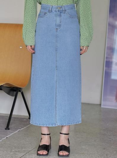 Romel Slit Denim Long Skirt
