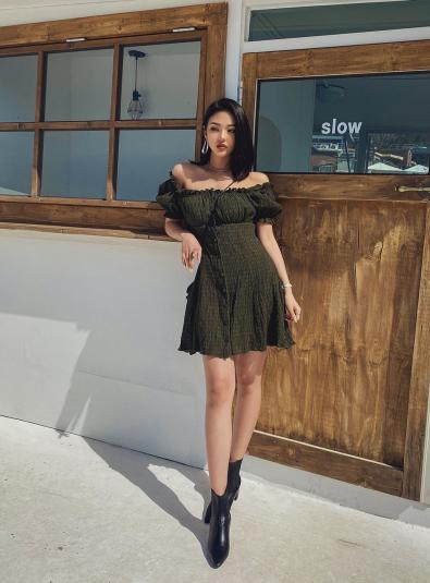 Self Shoulder Puff Dress
