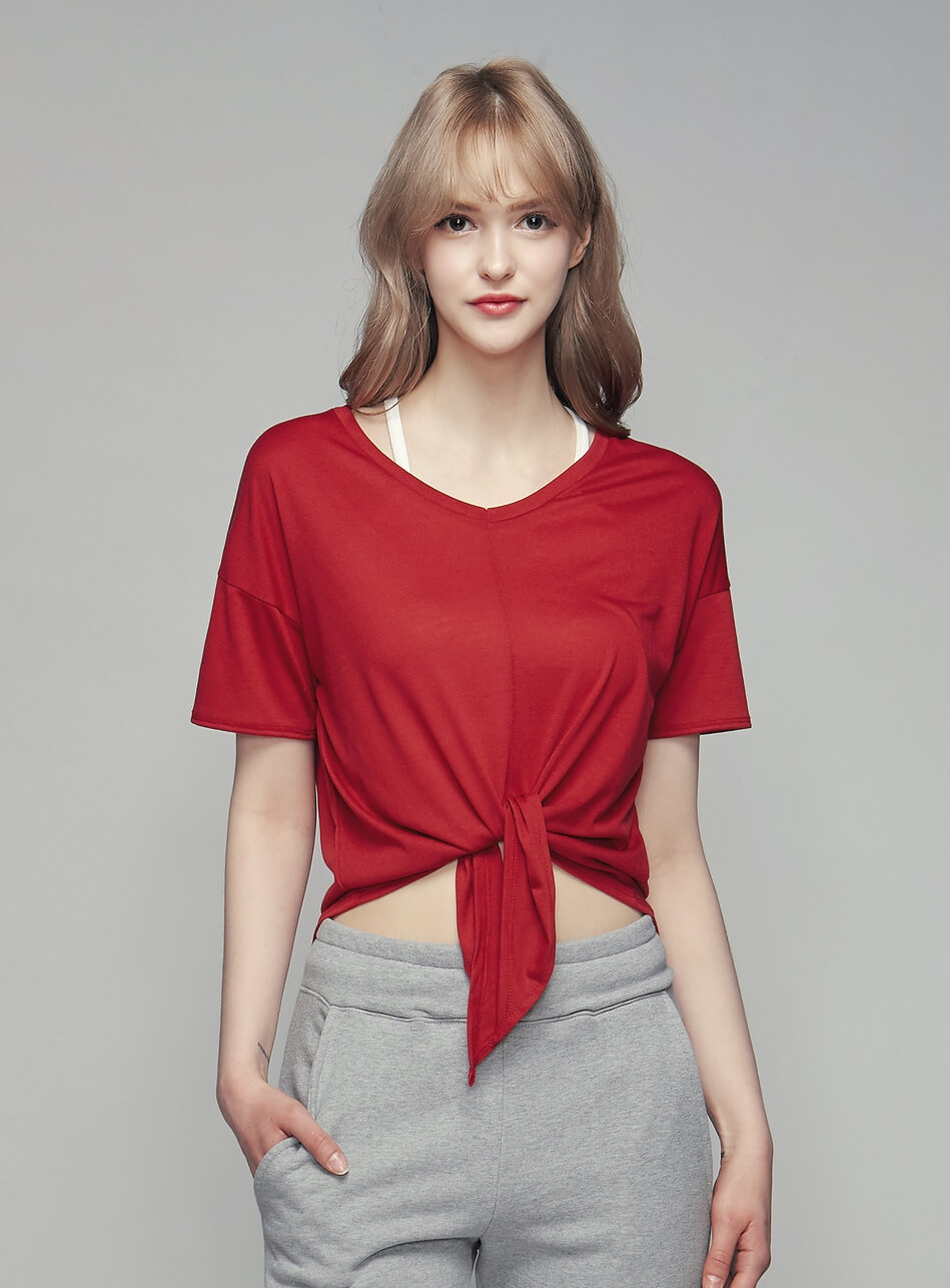 Loose Cover Up Tee- Red