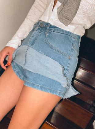 Tender denim skirt pants