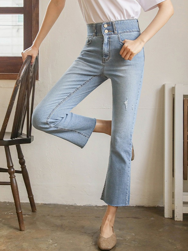 Always Thin Two Button Wide Banding Cropped Jeans