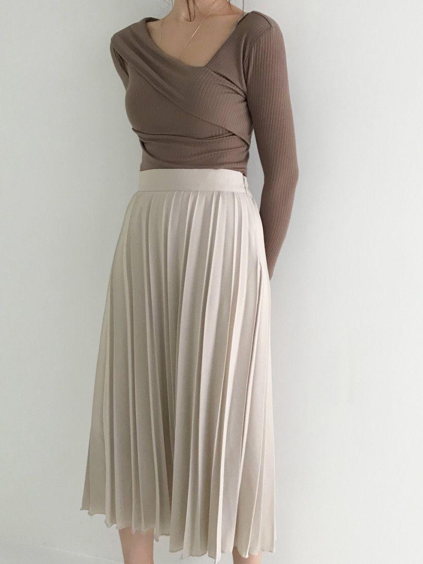 Summer Chiffon Asymmetric Pleated Long Skirt