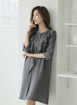 Inky Linen Ruffle Wrap Half Open Dress