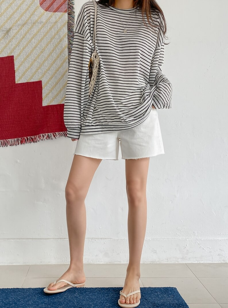 Loose Fit Striped Sheer T -Shirt