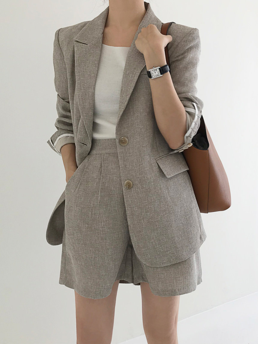 Pint Linen Snap Tailored Single Jacket