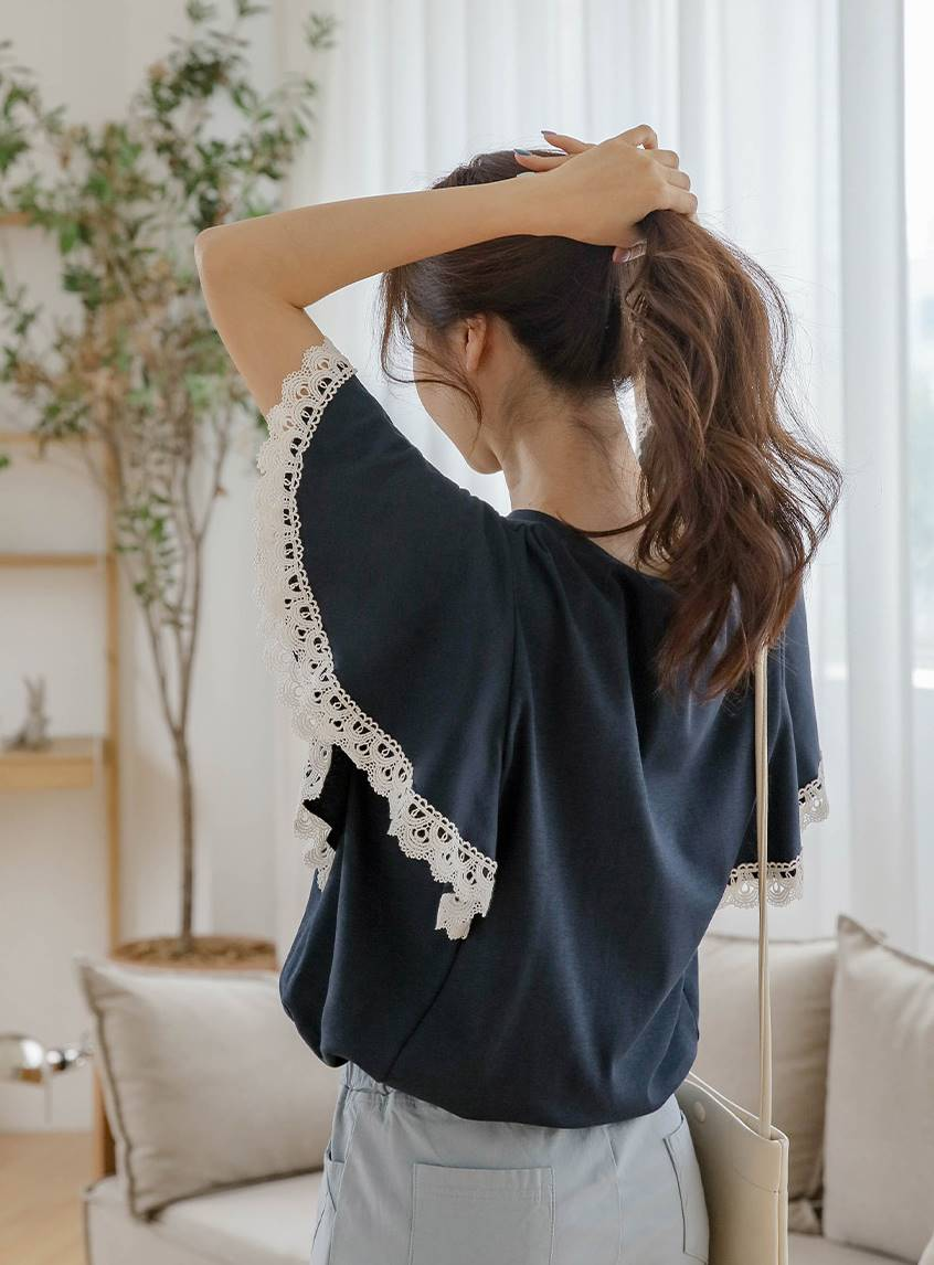 Hosing Embroidery Lace Wing Sleeve Tee