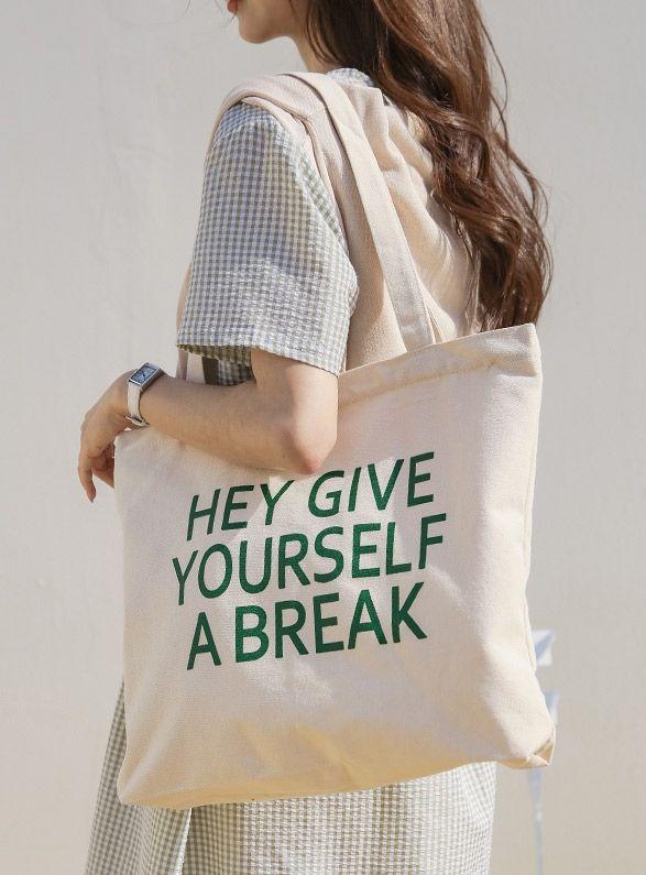 Brec Lettering Zipper Eco Bag