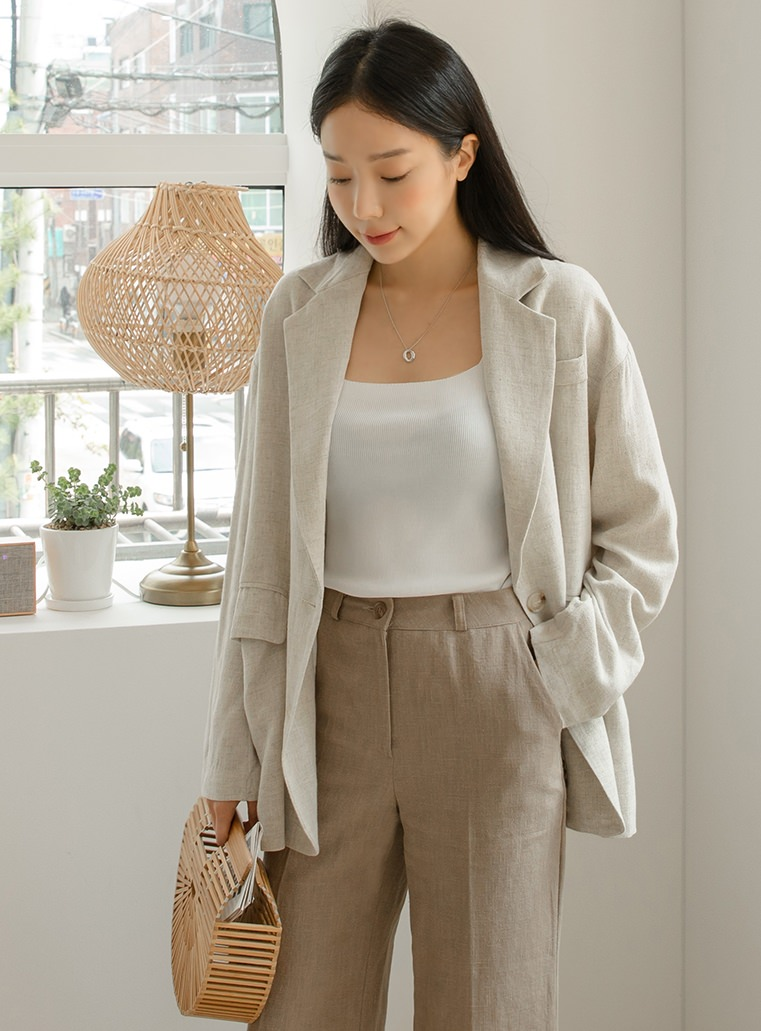 Daily Two Button Linen Jacket