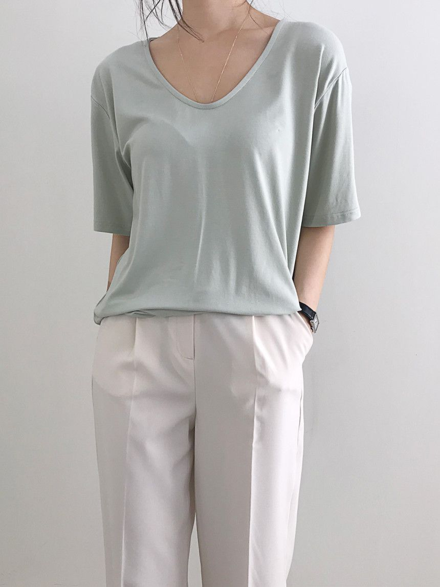 Mousse Chambray Rayon Span Yuneck Short Sleeve T-shirt