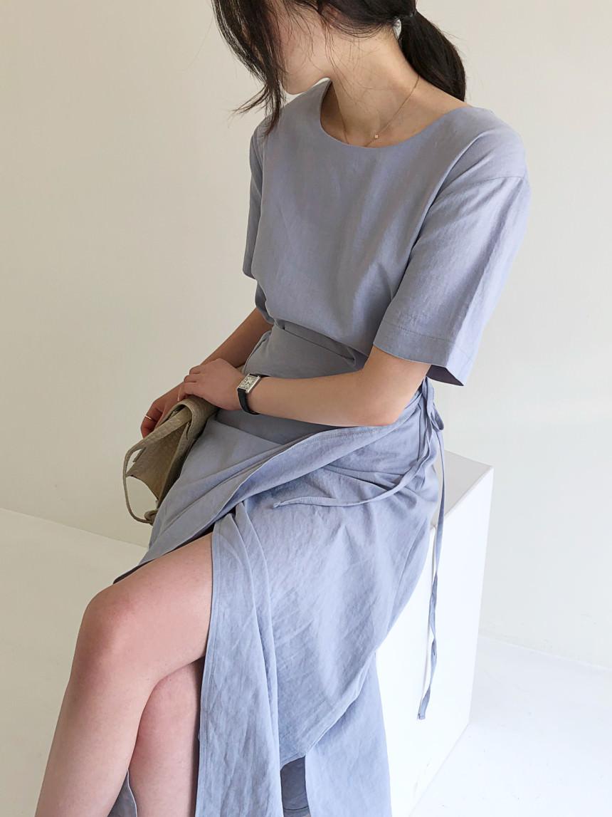Wind Linen Wrap Unbal Maxi Long Dress