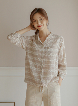Louville String Roll Up Check Shirt