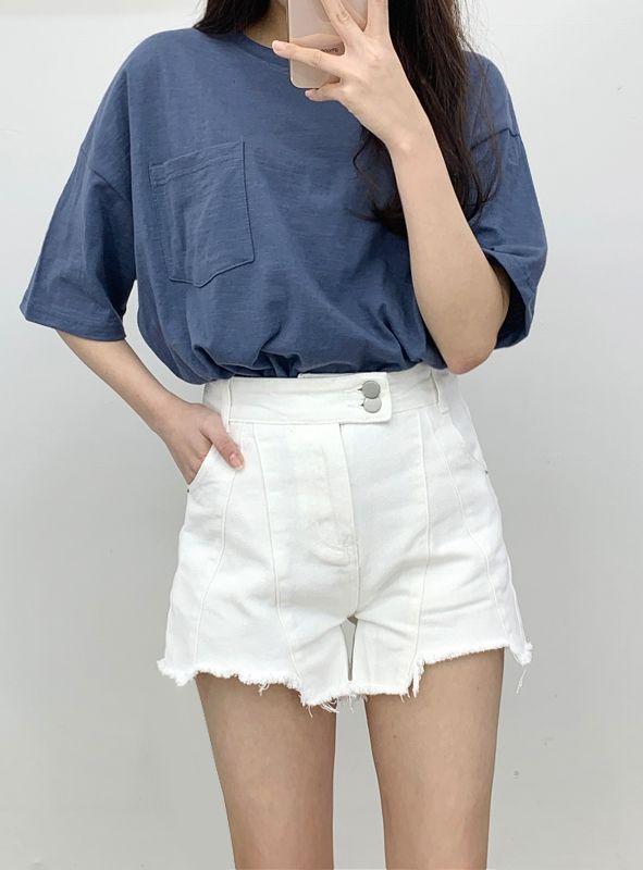 White Incision Short Pants