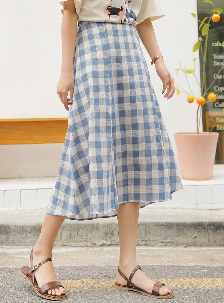 Temorin Check Flare Long Skirt