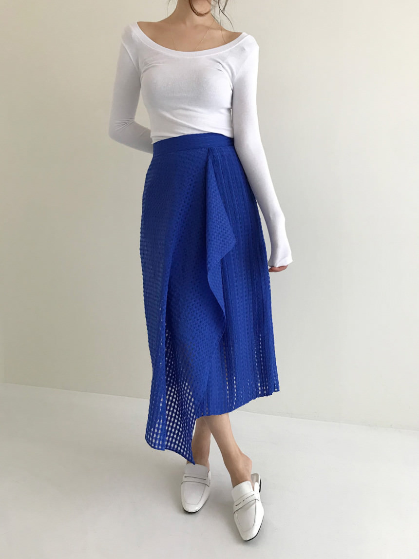 Square See-through Ruffled Unflared Flared Skirt