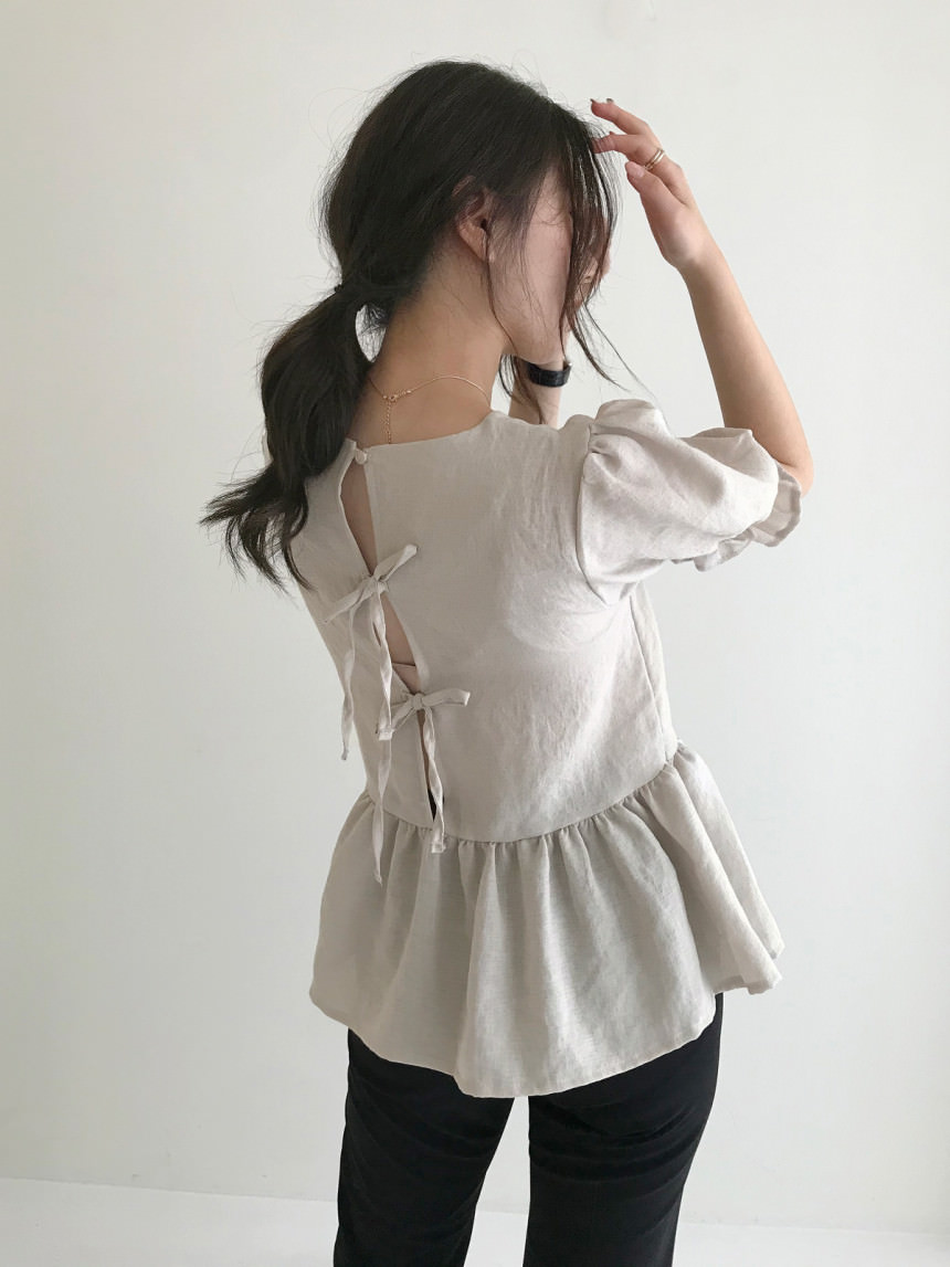 Lucy Back-trim Ribbon Flare Blouse