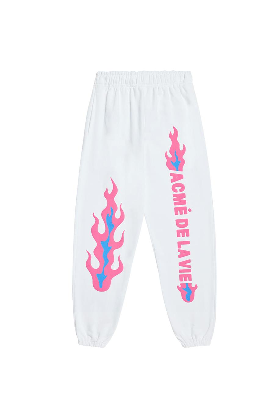 FLAME LOGO EMBO PANTS FOR MEN WHITE